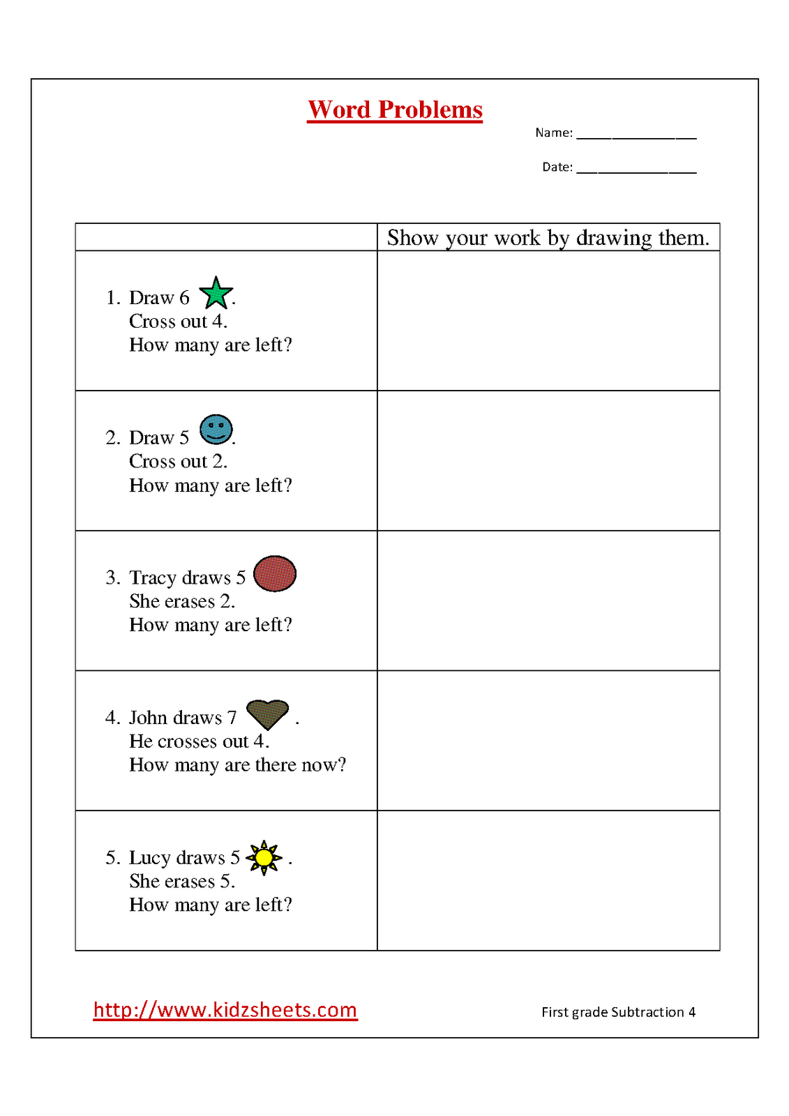 Printable Math Word Problems First Grade