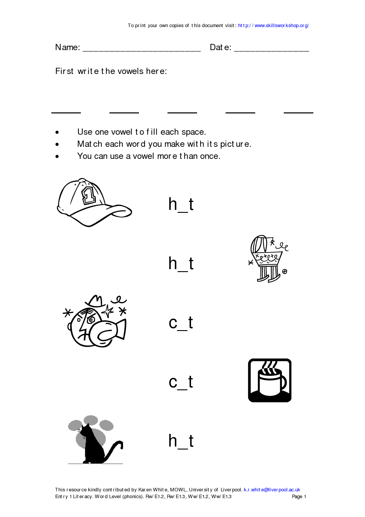 Short Vowels Worksheet First Graders