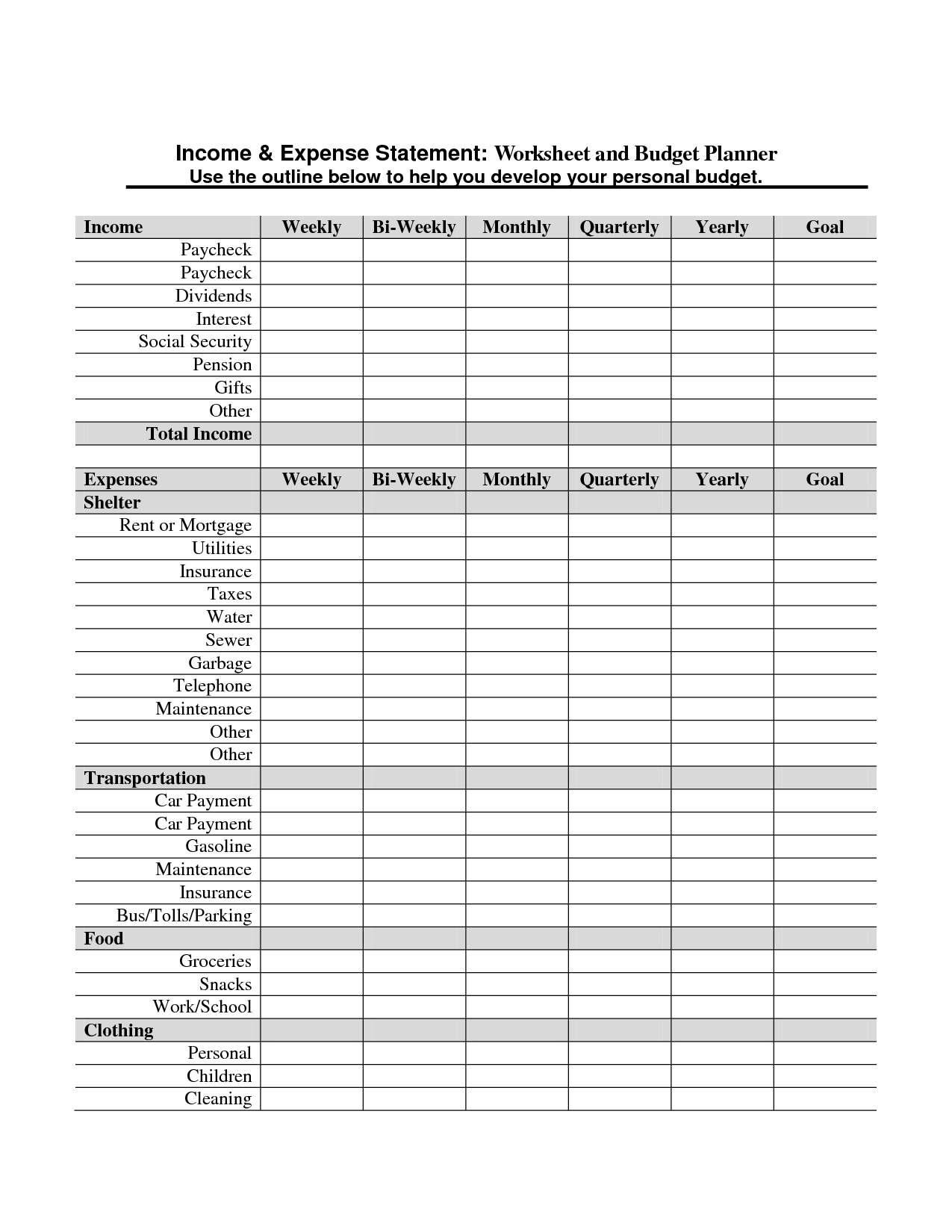 13 Best Images Of Monthly Income Expense Worksheet