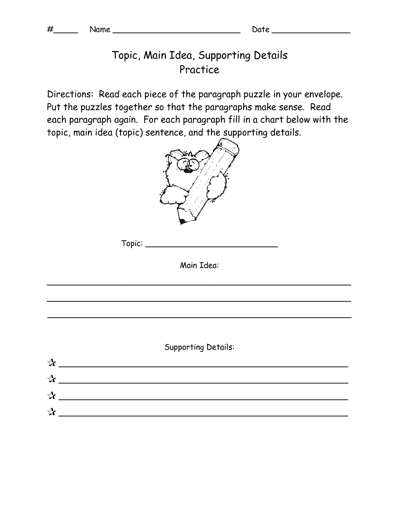 11 Best Images Of Main Topic Worksheets