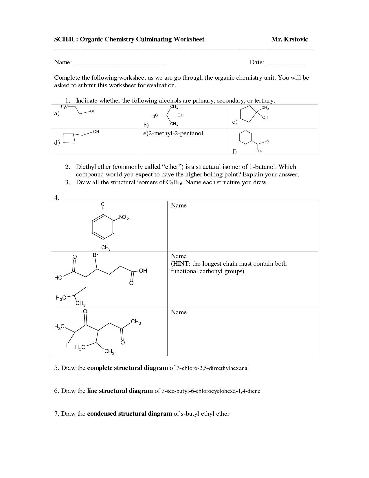 17 Best Images Of Organic Compound Worksheet Answers