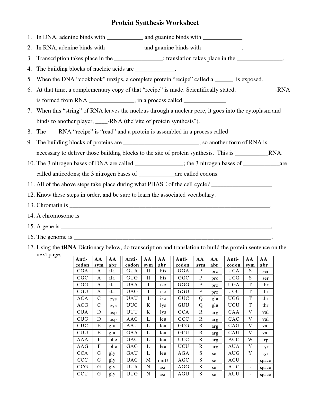 Biology Worksheet Category Page 1