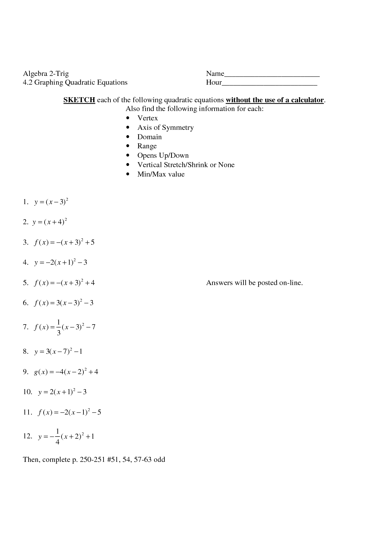 Worksheet Vertex Form Worksheet Worksheet Fun Worksheet
