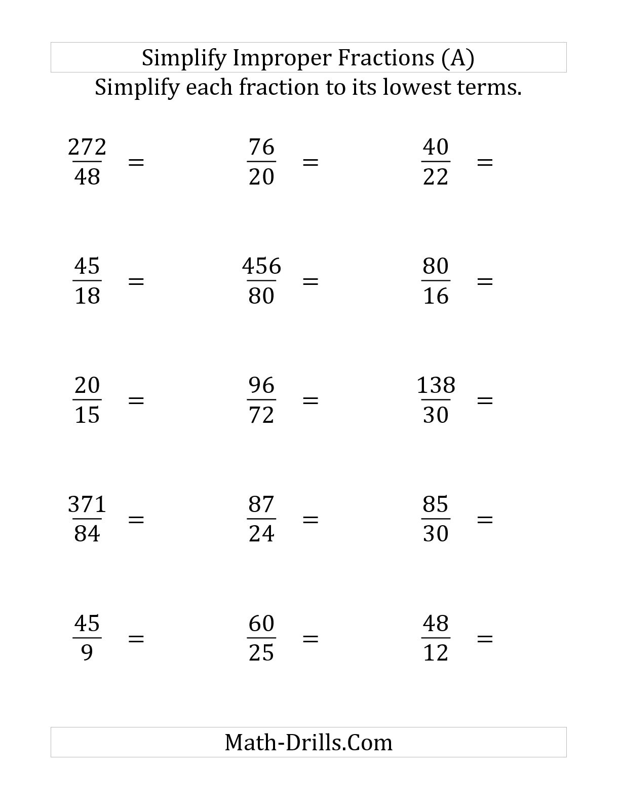 Reducing Fractions Worksheet Math Bee