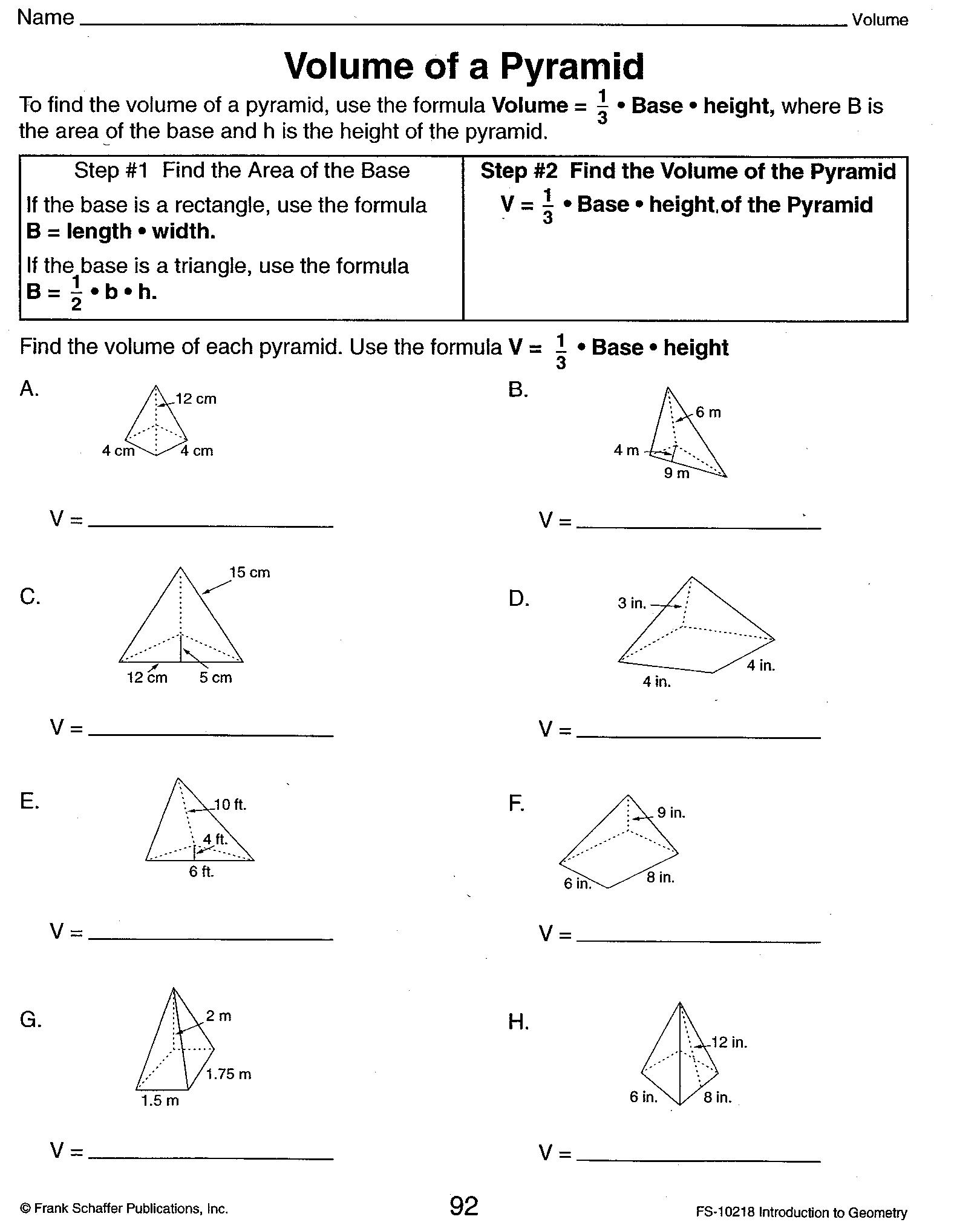 Surface Area Pyramid Worksheet