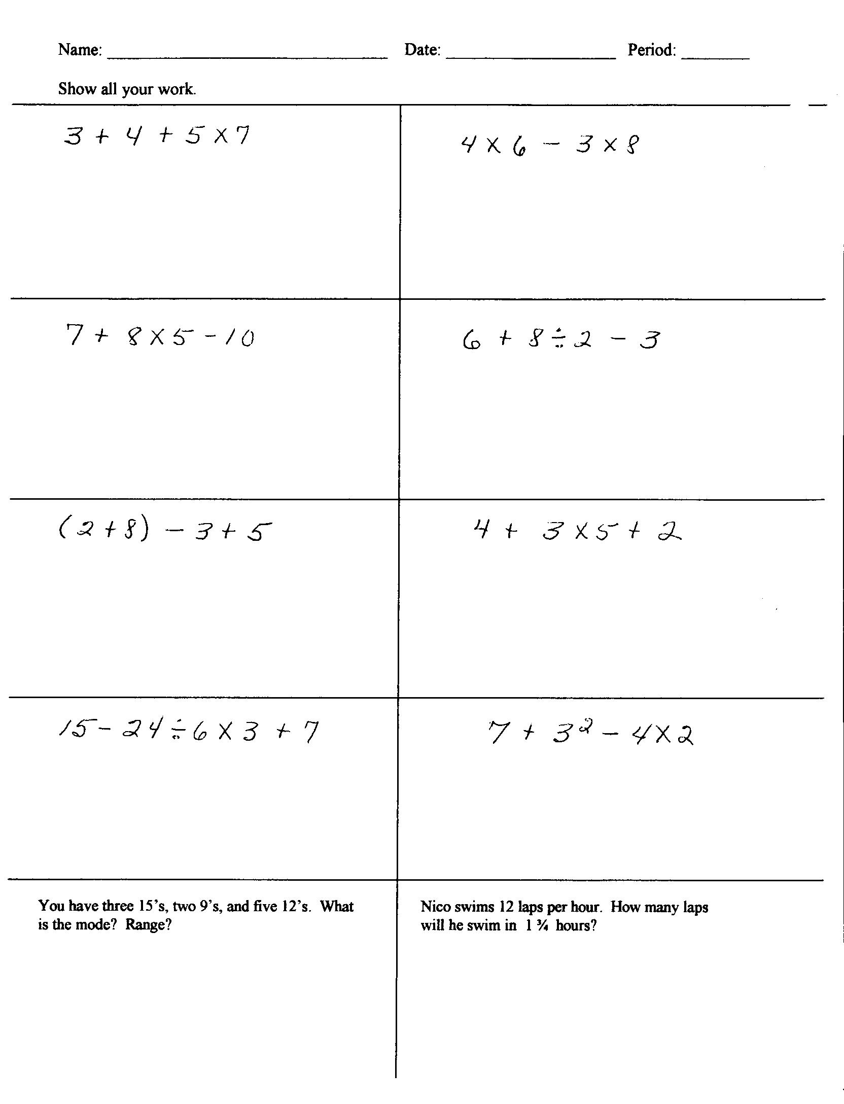 16 Best Images Of Bodmas Worksheets With Answers