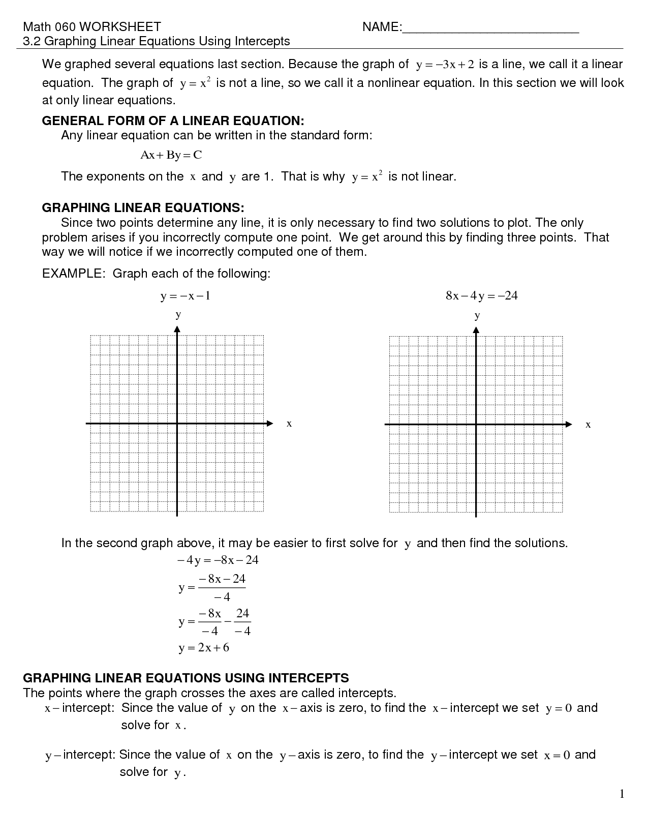 X And Y Intercept Worksheet From Graph