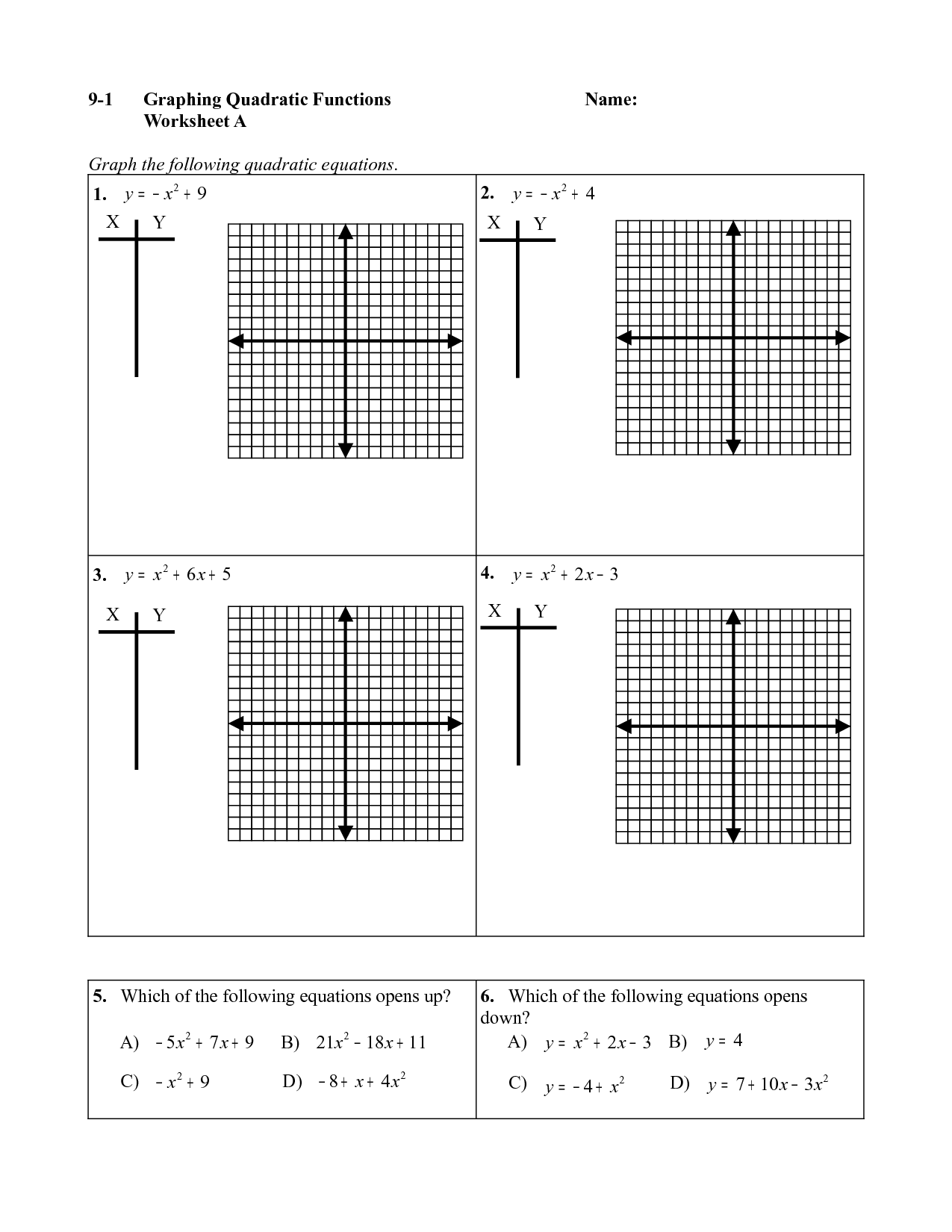 Graphing Quadratic Equations Worksheet