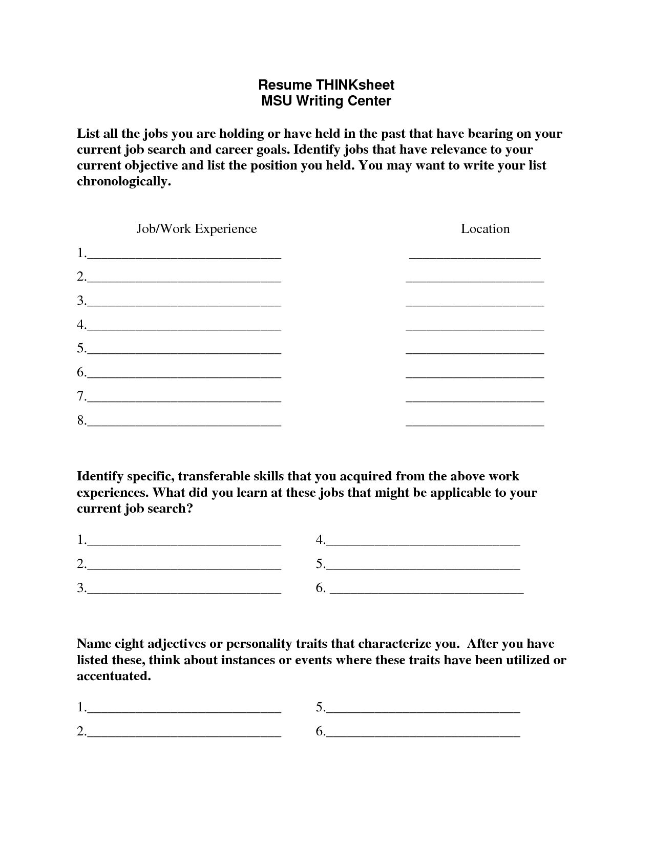 Goal Worksheet Middle School