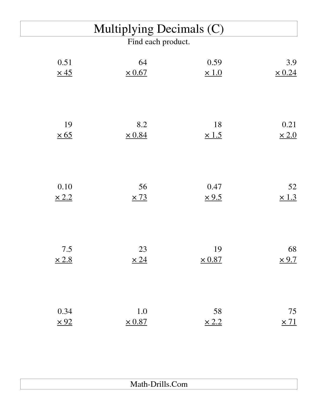 11 Best Images Of Worksheets Dividing Decimals 6th Grade