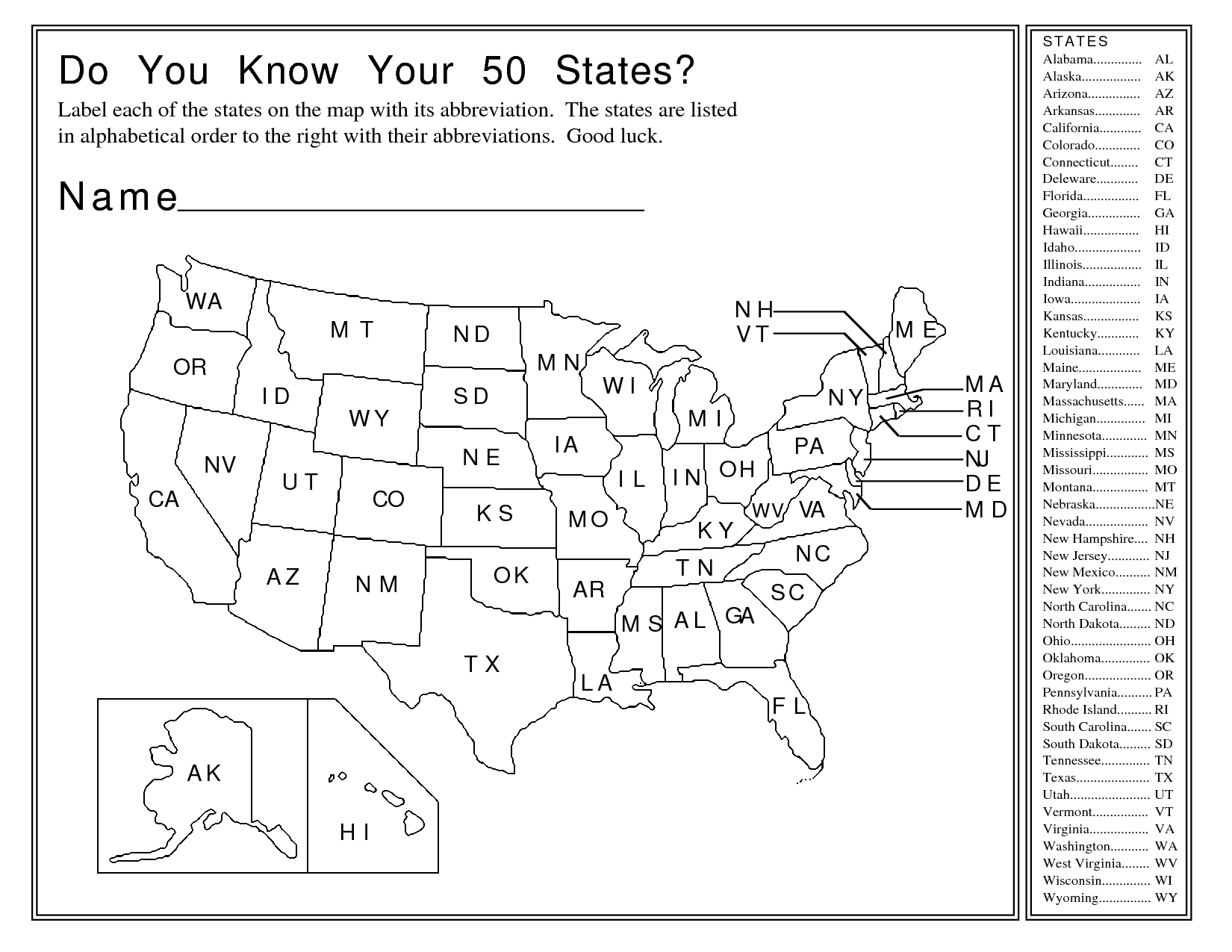 States And Capitals 26 50 Worksheet