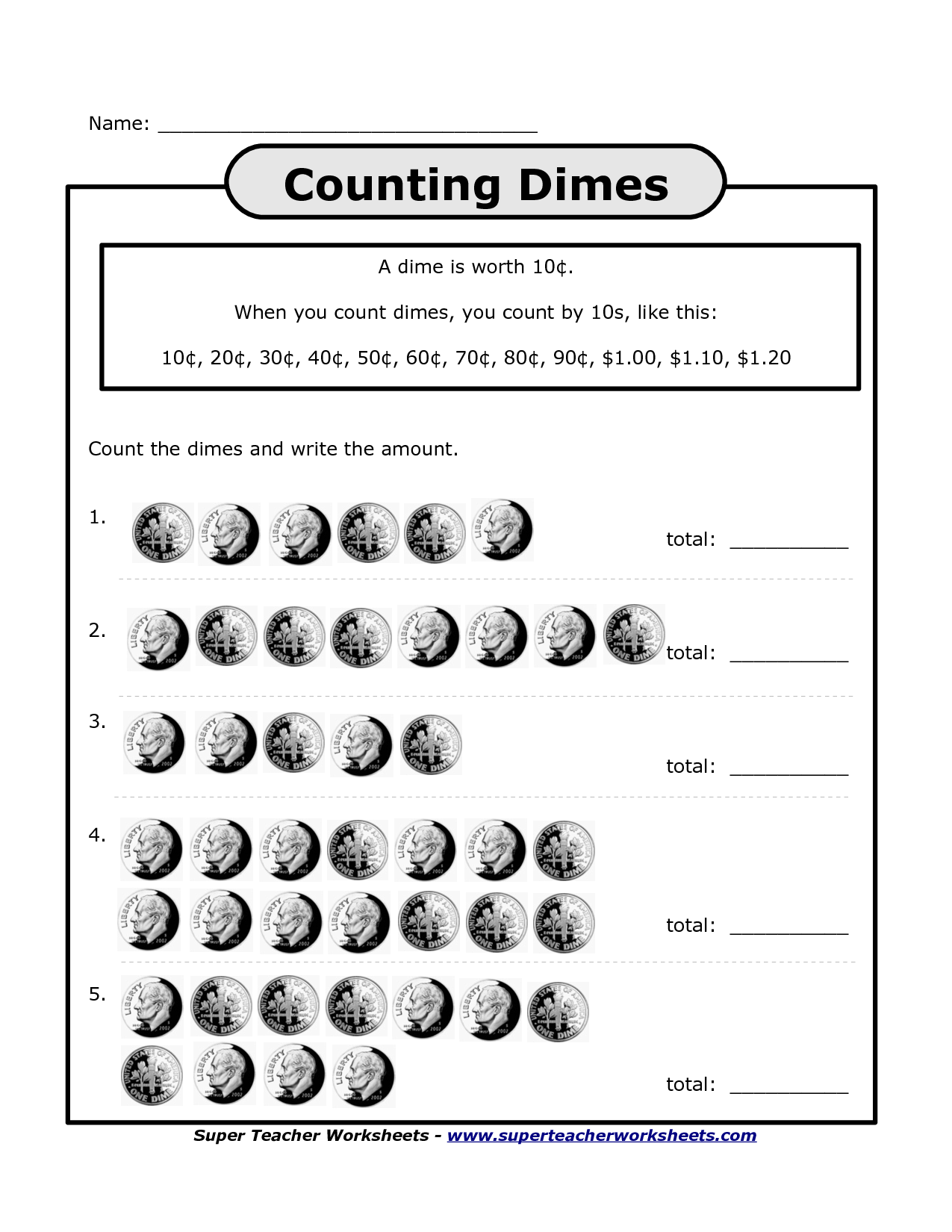 Math Worksheet Counting Nickels