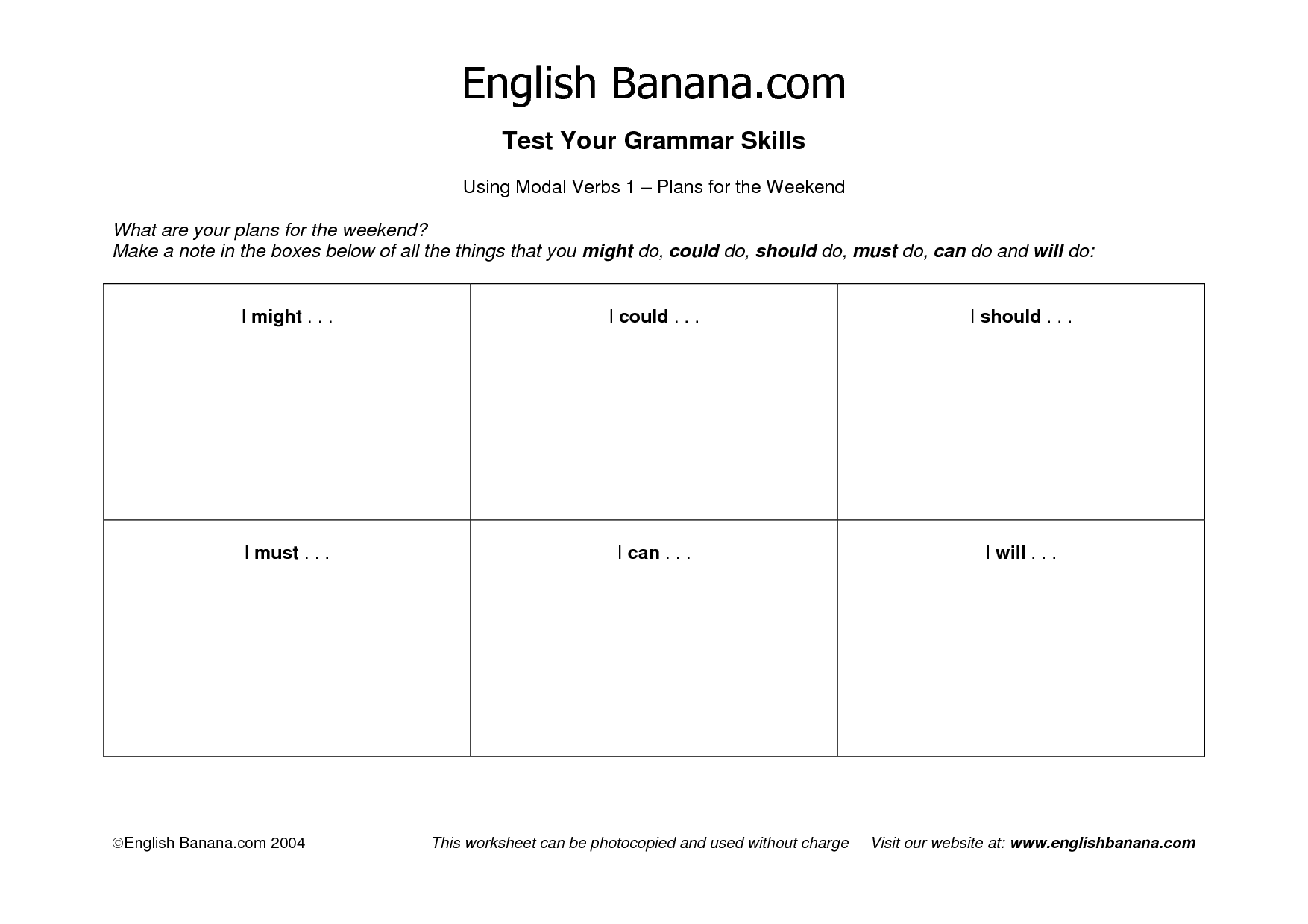 Free Printable Worksheet On Modal Verbs