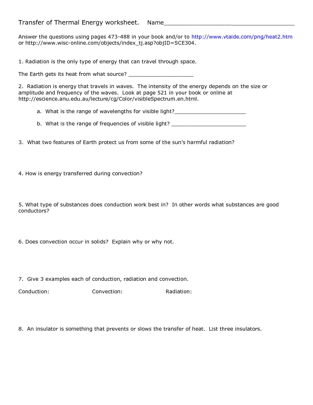 Heat Transfer Heat Transfer Worksheet Answer Key