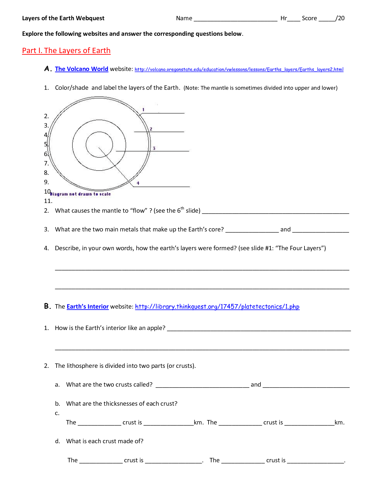 14 Best Images Of Worksheets Layers Of The Earth