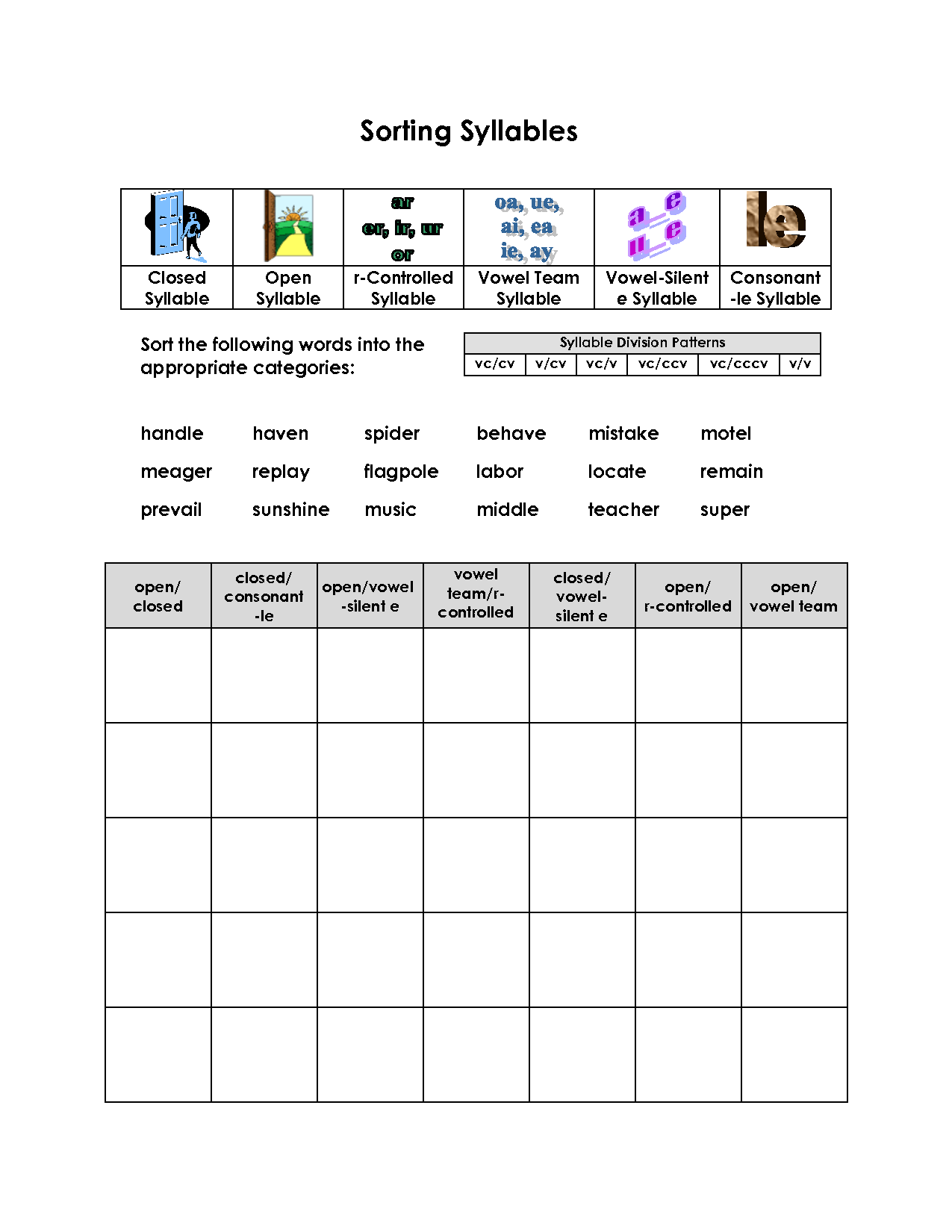 14 Best Images Of Syllable Worksheets For Second Grade
