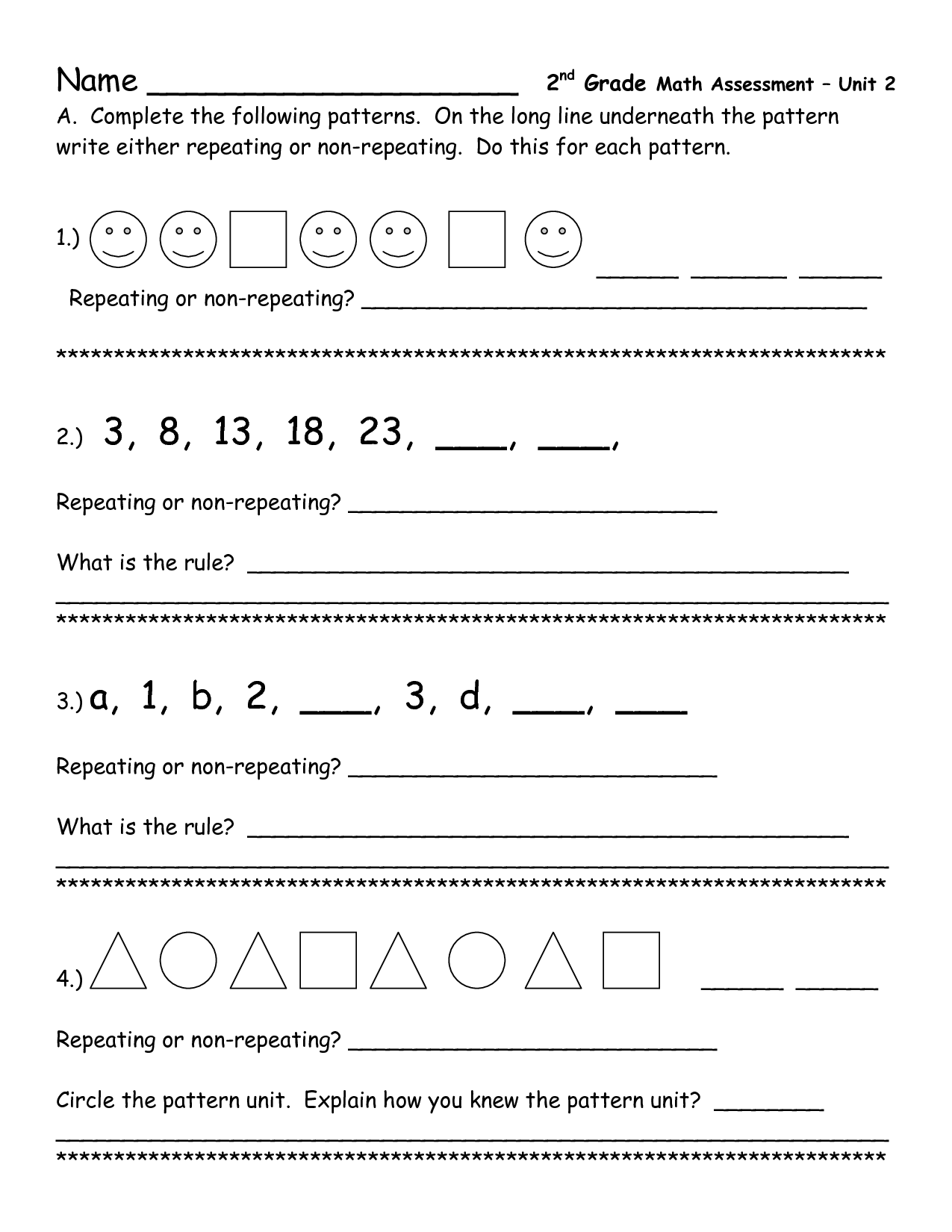 16 Best Images Of Second Grade Number Patterns Worksheets