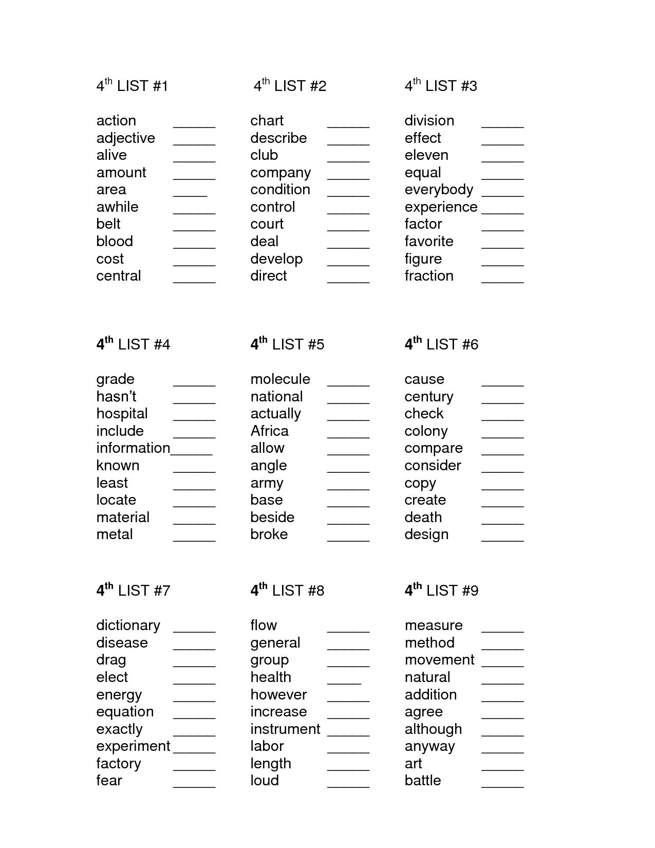 17 Best Images Of Fourth Grade Words Printable Worksheets