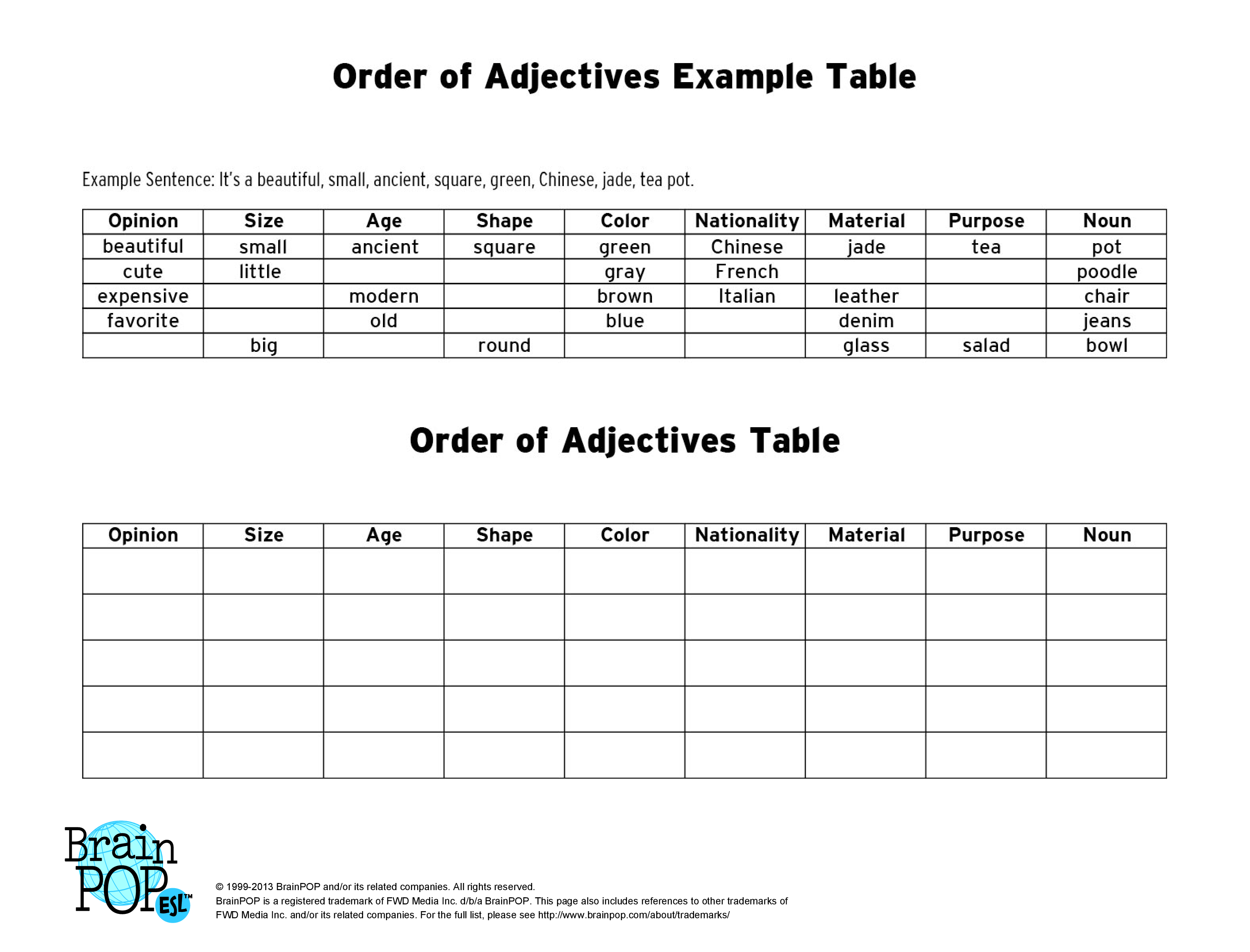 13 Best Images Of Adjective Order Worksheets