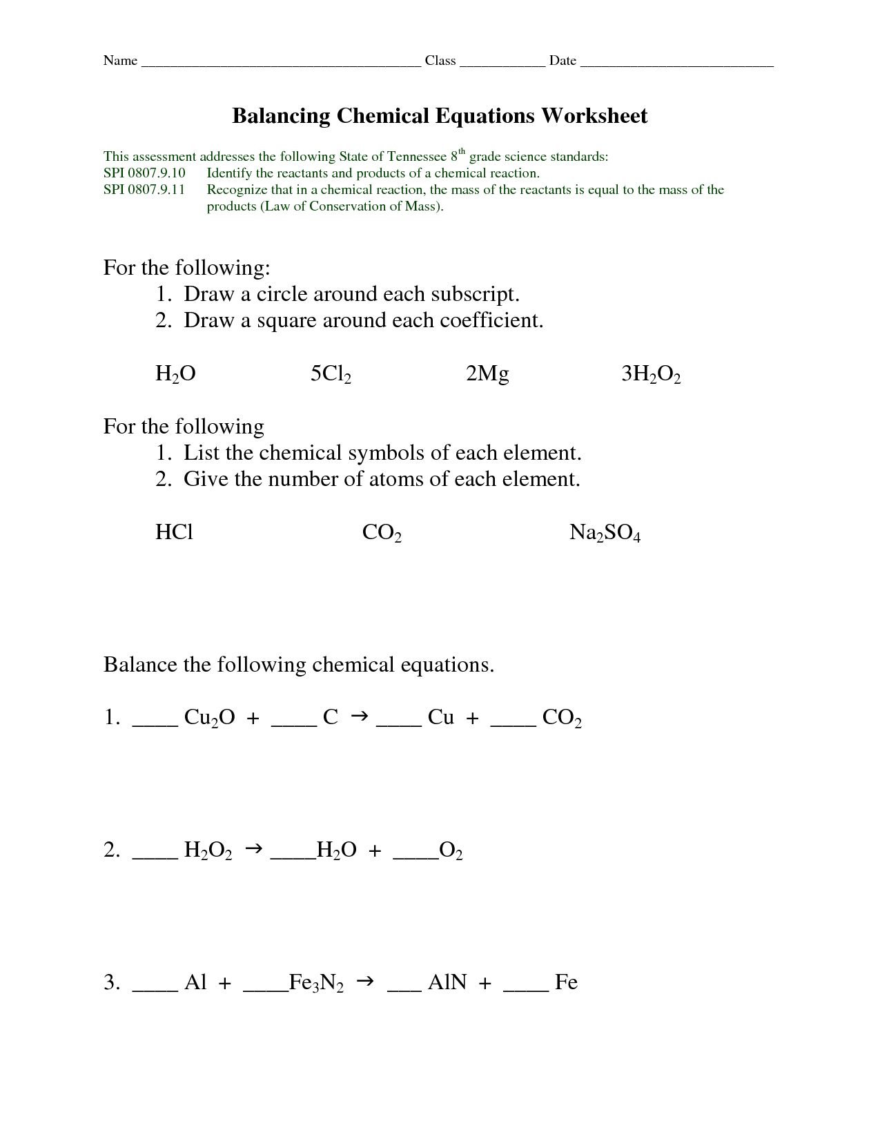 14 Best Images Of Balancing Equations Worksheet Key