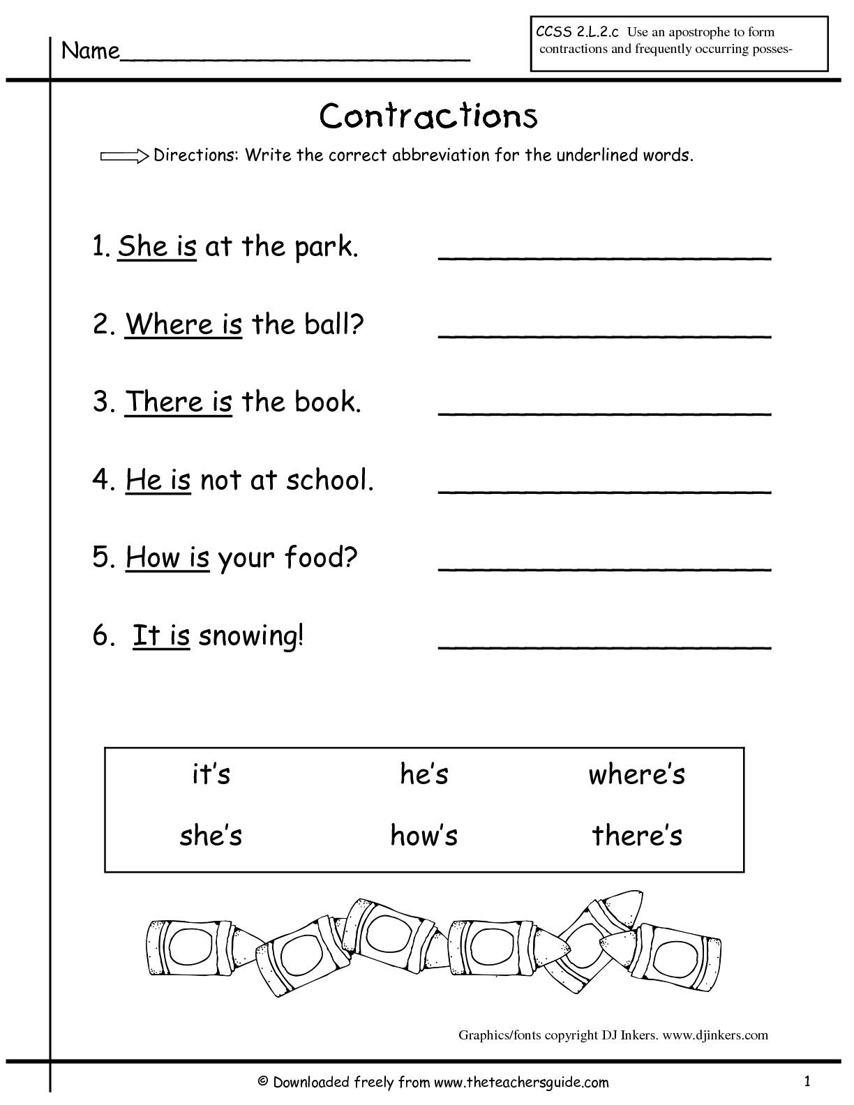 17 Best Images Of For First Grade Contraction Worksheets