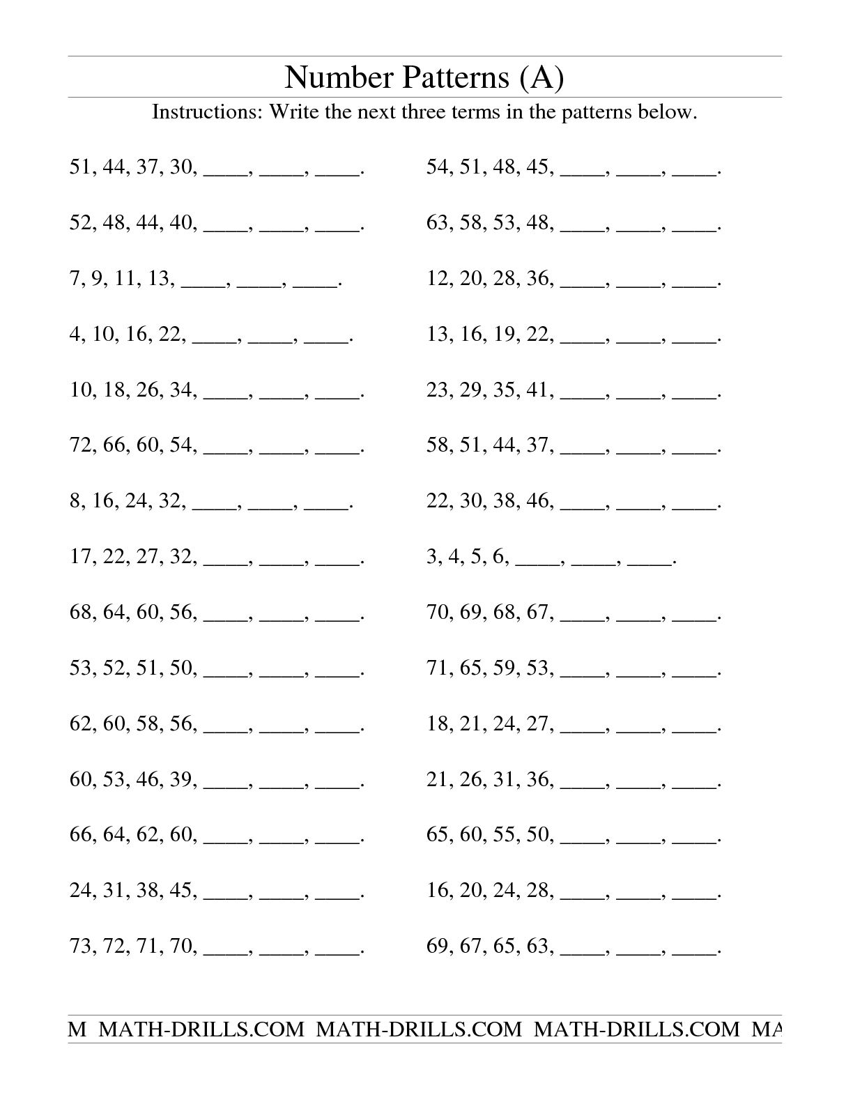 Number Sequence Worksheet 5th Grade