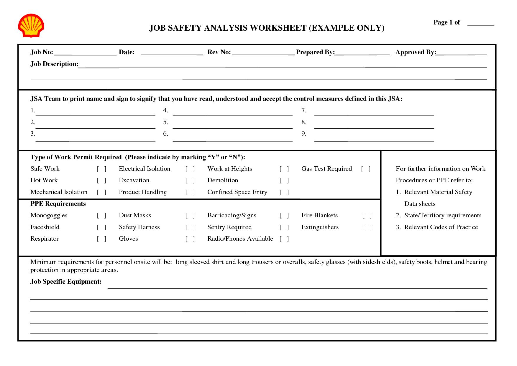 Job Taskysis Worksheet