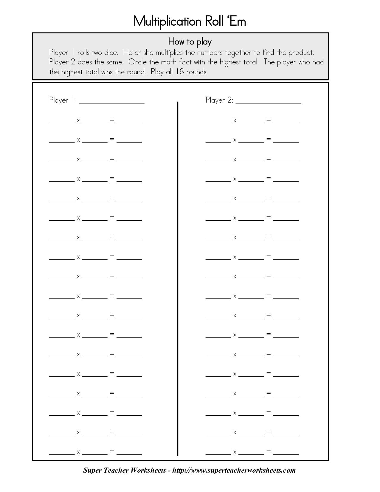 14 Best Images Of Super Teacher Worksheets Multiplication