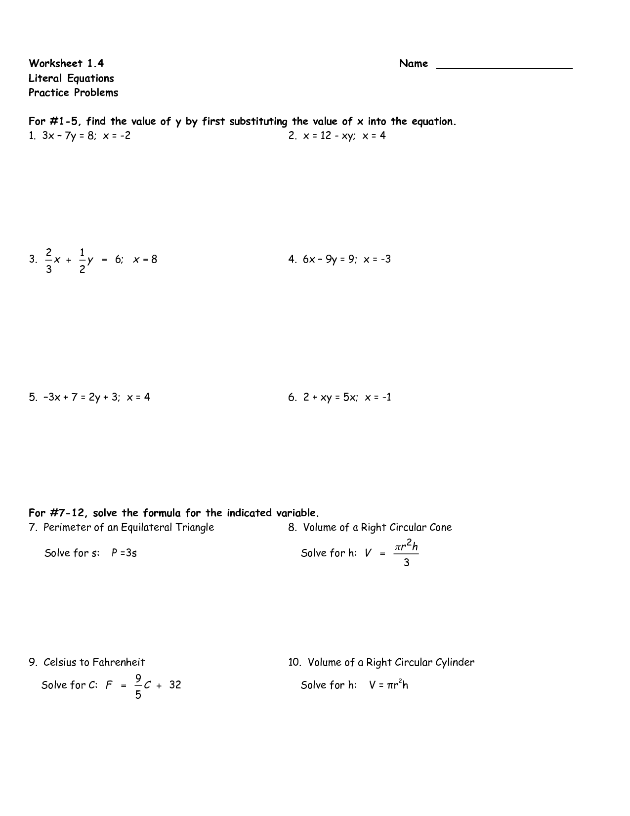 9 Best Images Of Literal Equations Worksheets 8th Grade