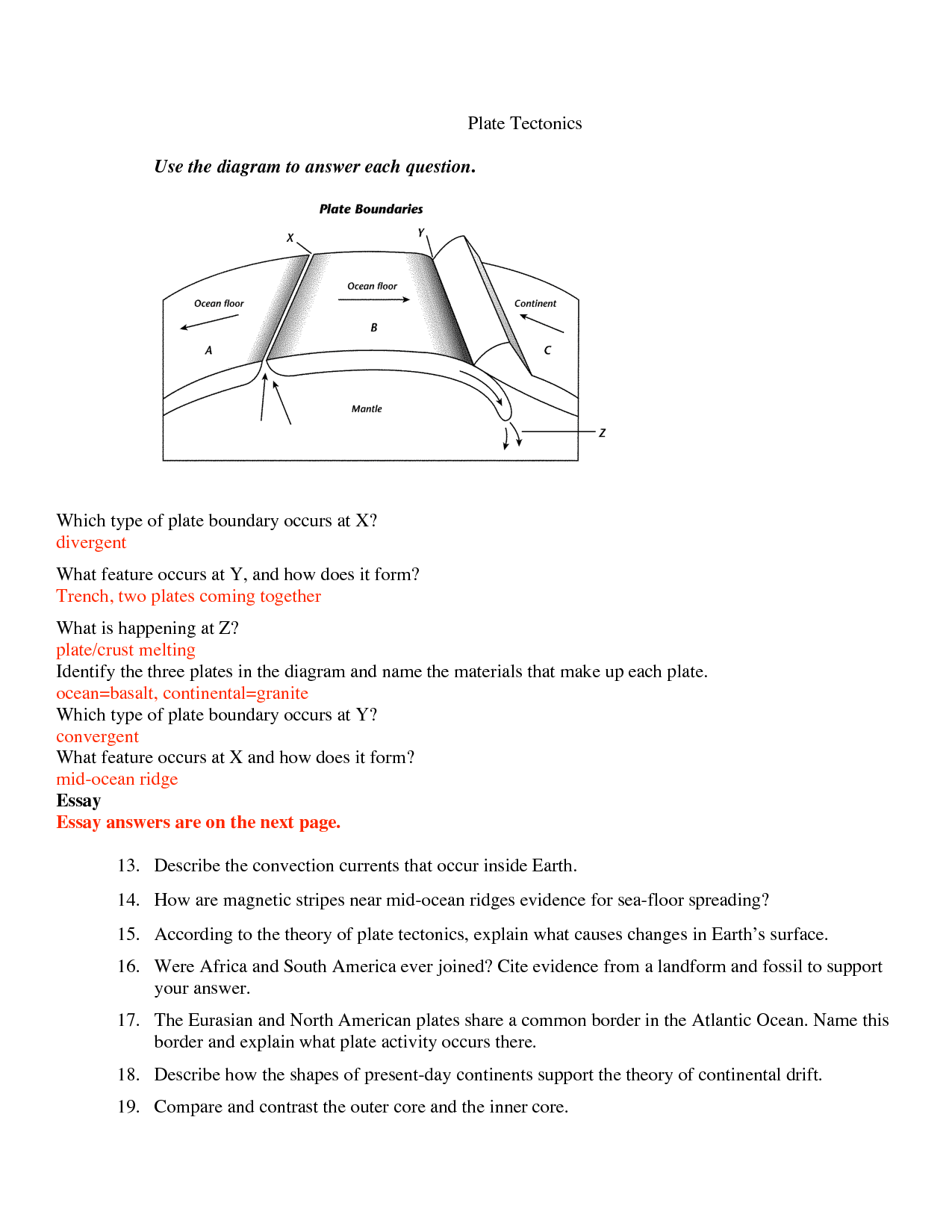 13 Best Images Of Divergent Boundaries Worksheet