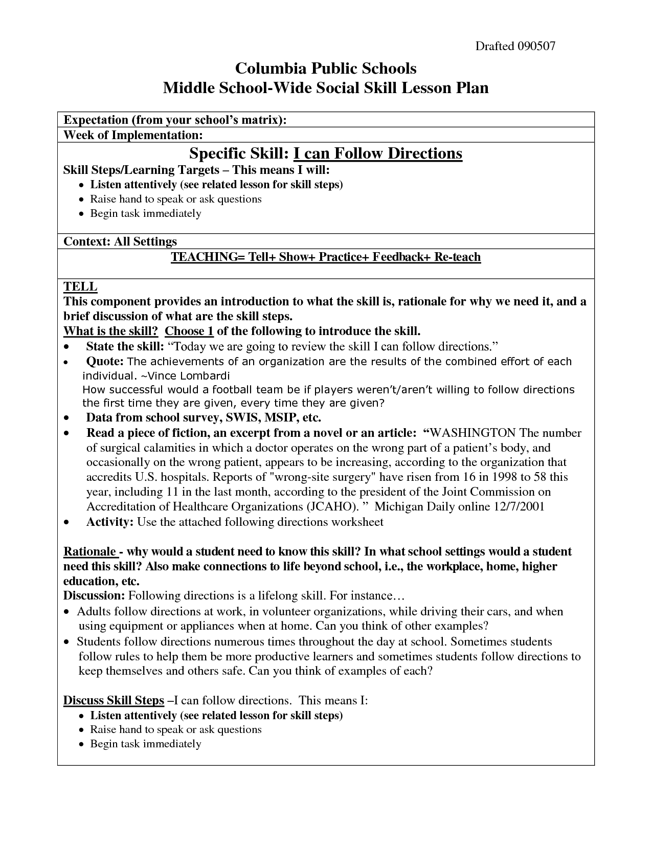 Following Directions Worksheet Trick High School