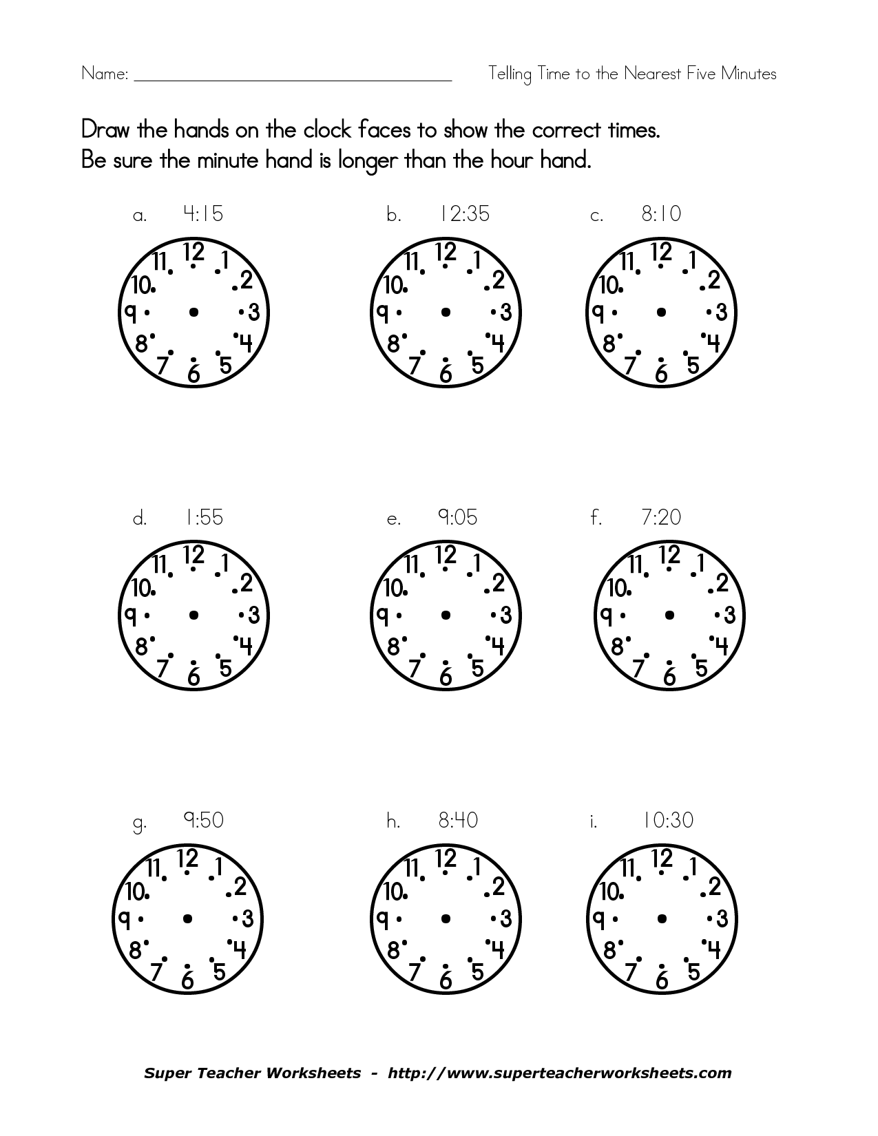 15 Best Images Of Hour And Minute Hand Worksheets