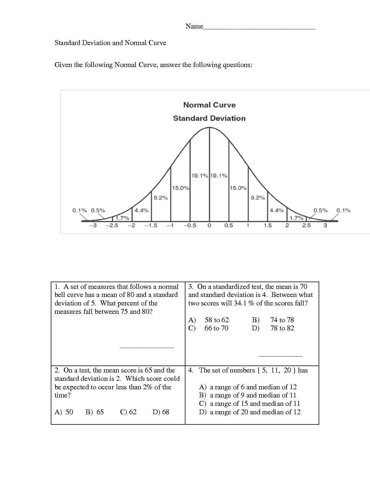 11 Best Images Of Measures Of Center Worksheet