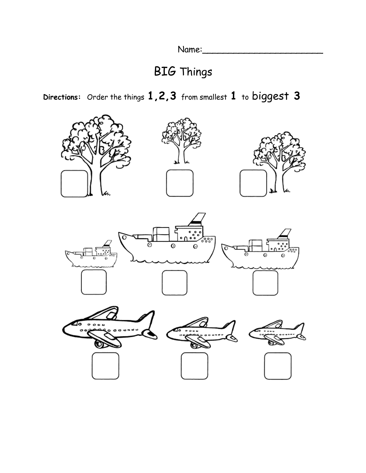 Big And Little Worksheets For Kindergarten