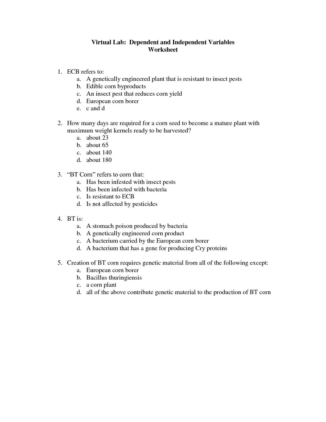 Determining Independent And Dependent Variables Worksheet