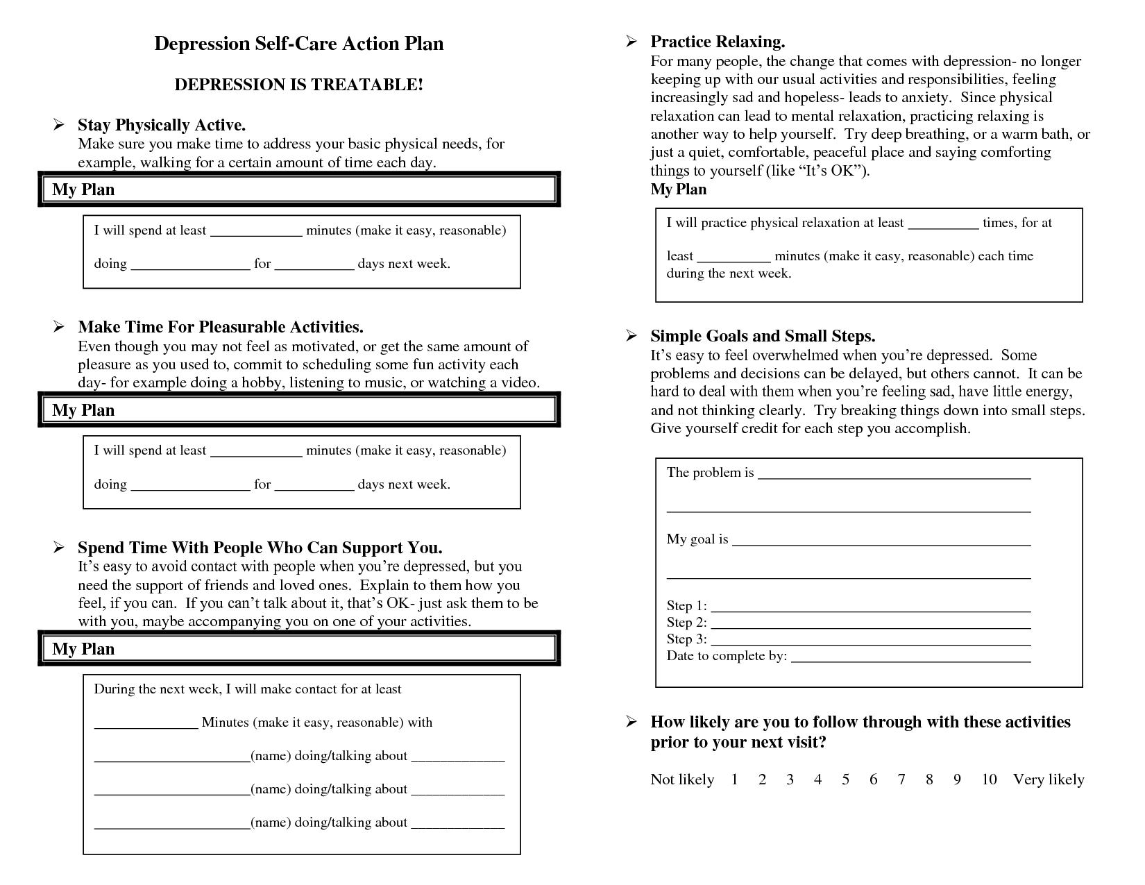 13 Best Images Of Self Care Plan Worksheets