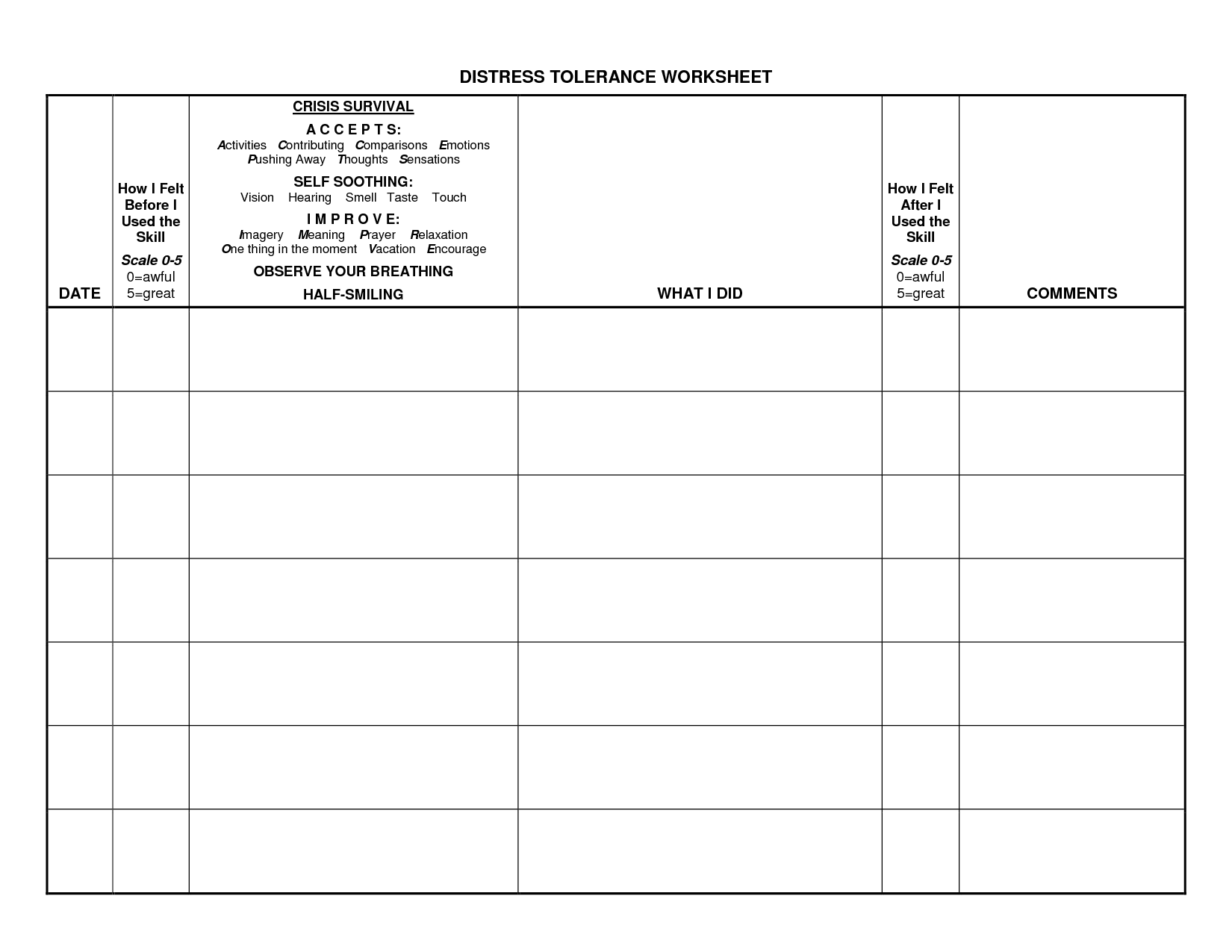 20 Best Images Of Dbt Worksheets For Client