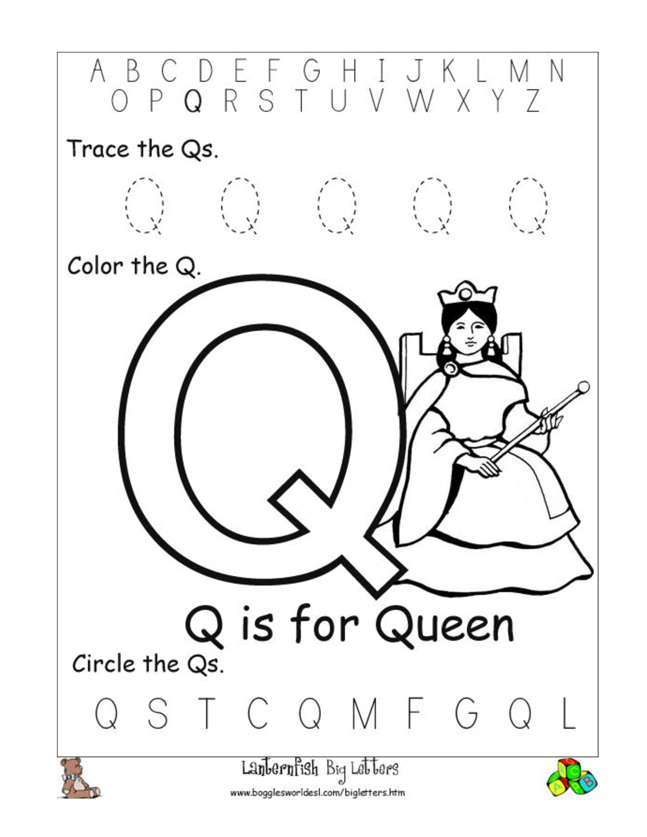 9 Best Images Of Pre K Worksheets Letter Q