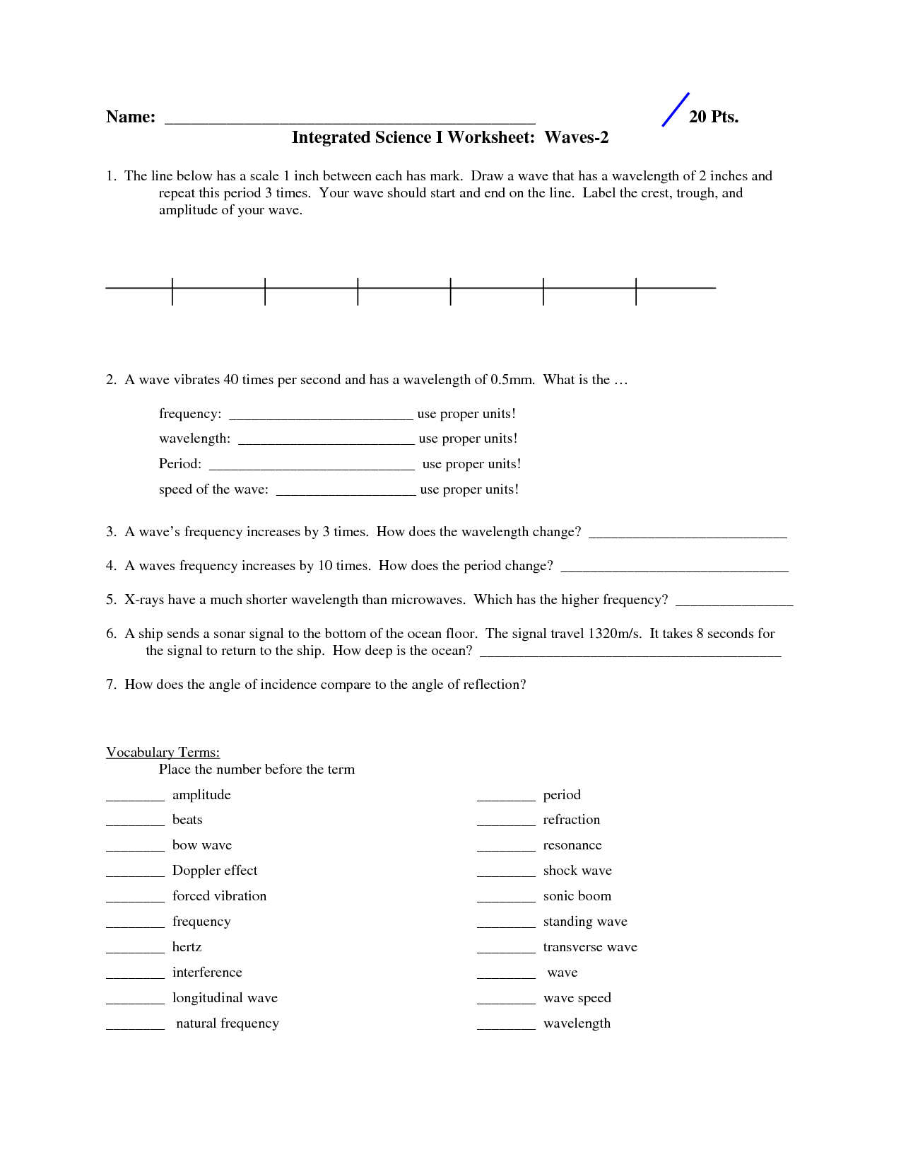 12 Best Images Of Science Worksheets Refraction