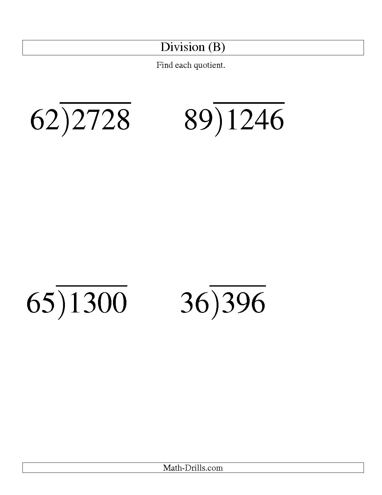 Math Worksheet Division With Remainders