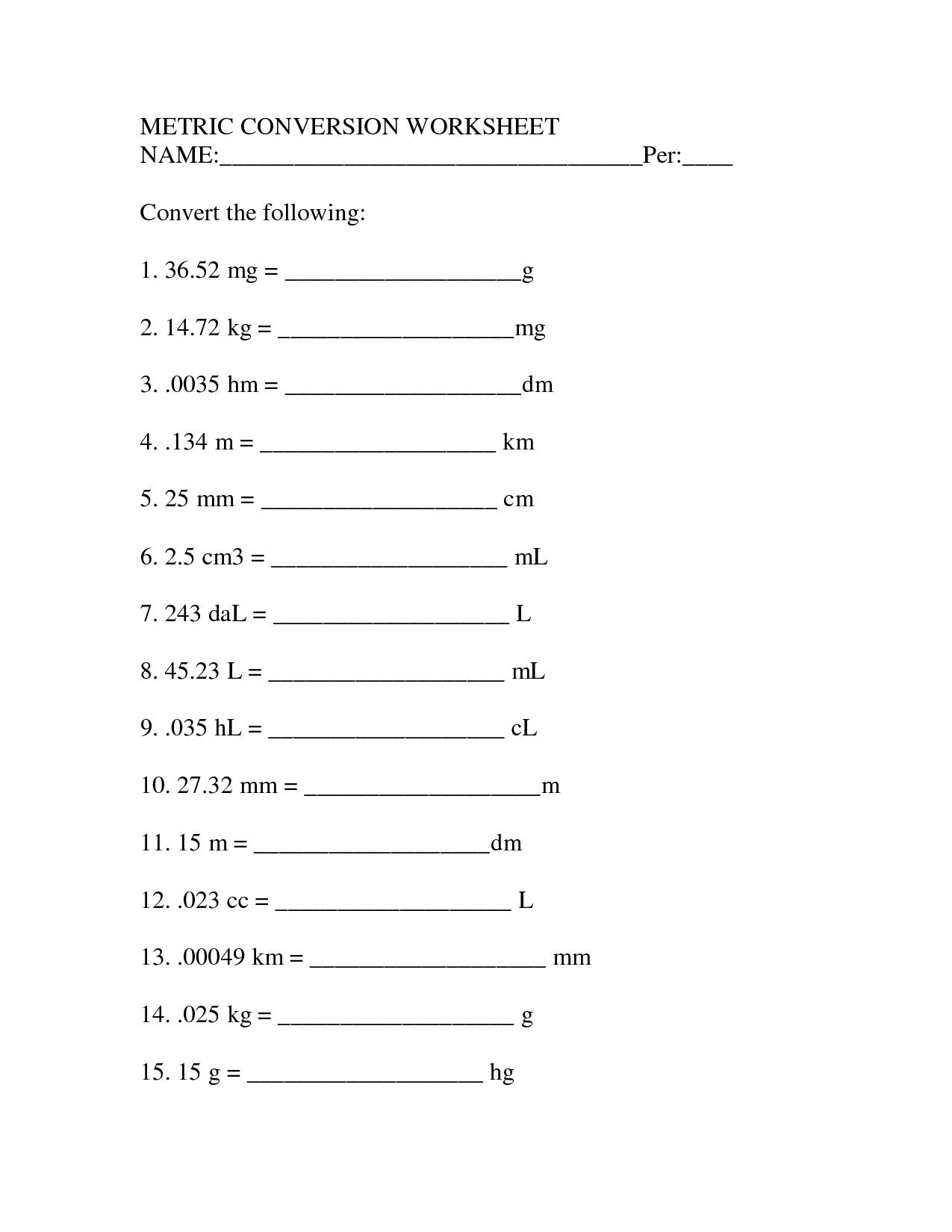 16 Best Images Of Measurement Conversion Worksheets 5th Grade