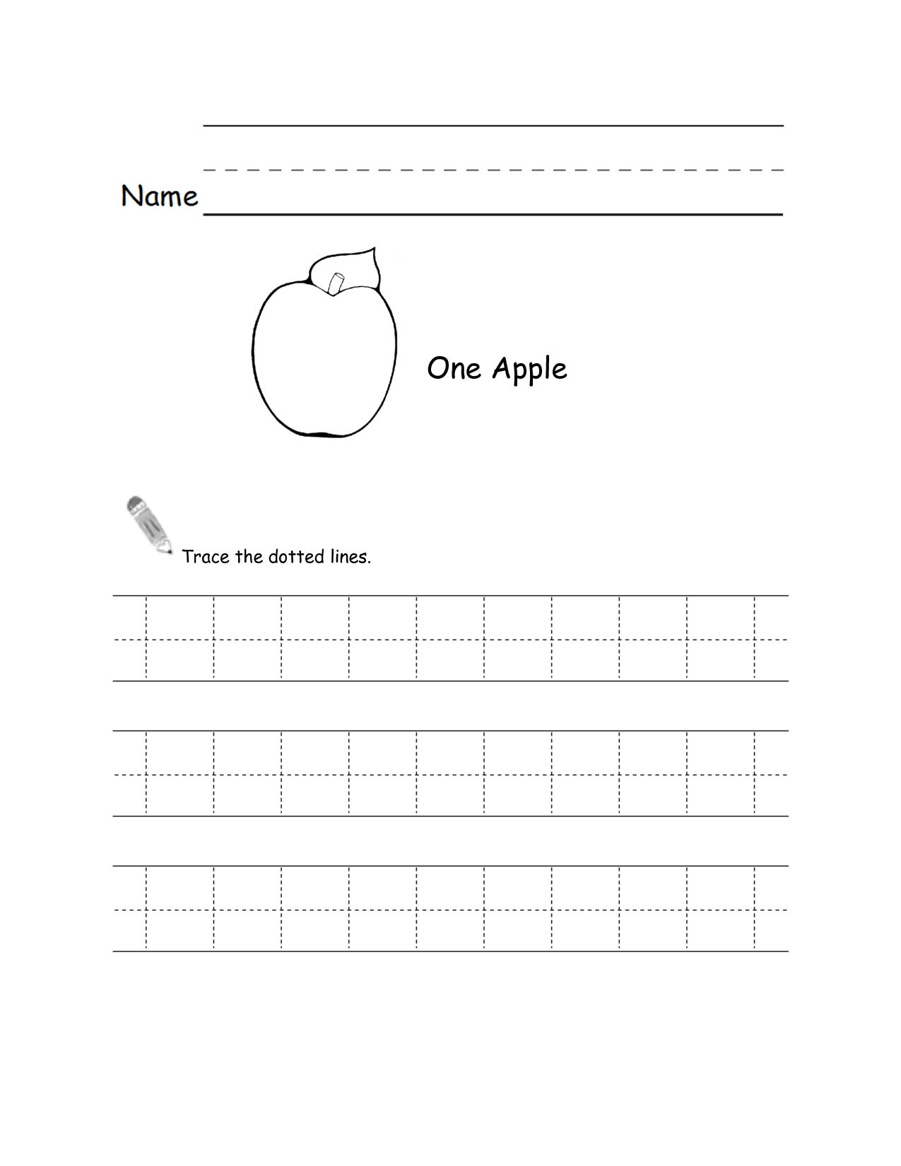 8 Best Images Of Dotted Line Tracing Worksheets Apple S