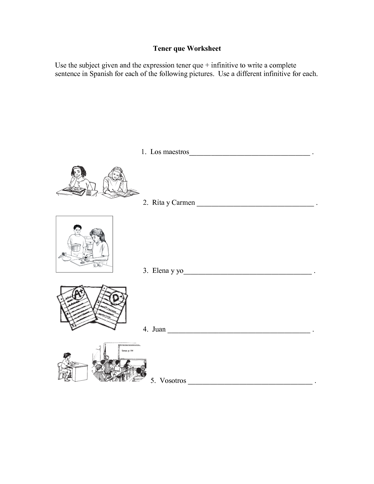 Fiesta Spanish Word Worksheet