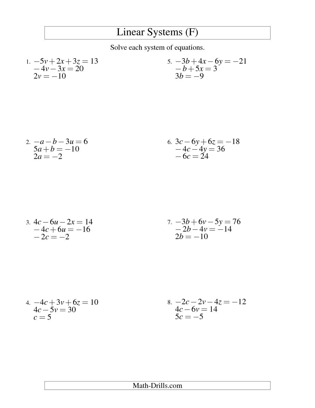 13 Best Images Of Algebra Linear Equations Worksheet