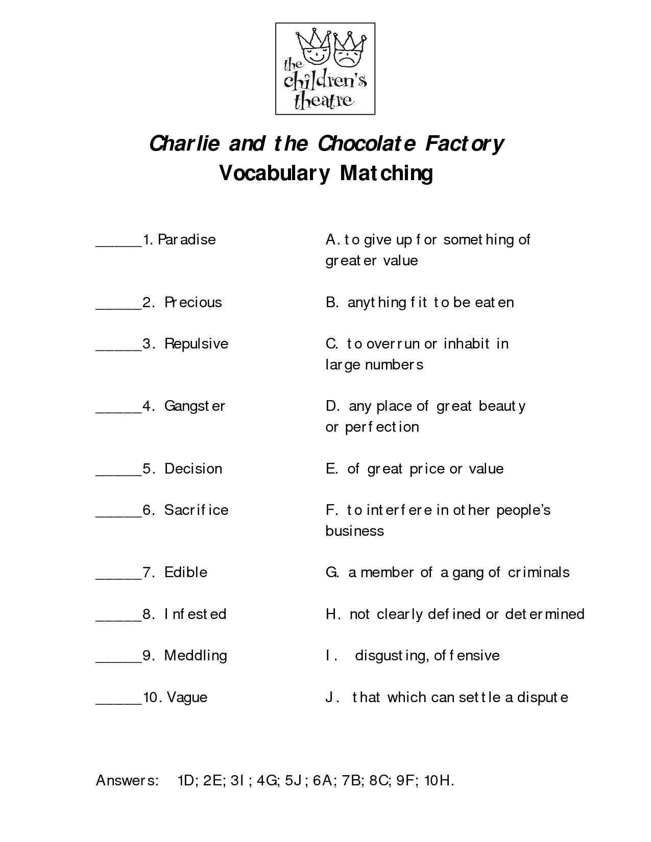 14 Best Images Of Vocabulary Matching Worksheet Template