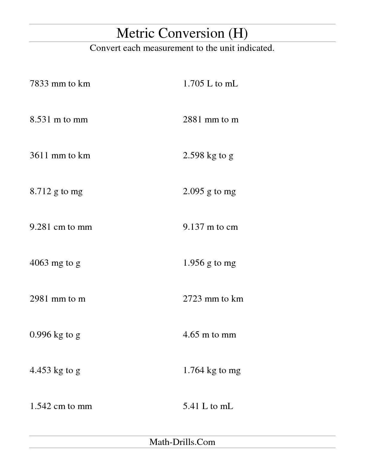 12 Best Images Of Metric Length Worksheets