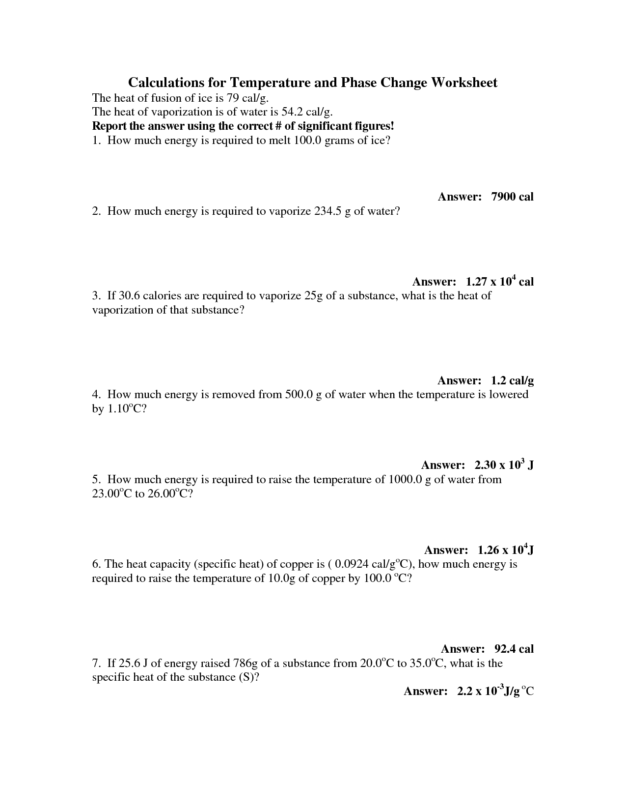 13 Best Images Of Phase Changes Of Matter Worksheet