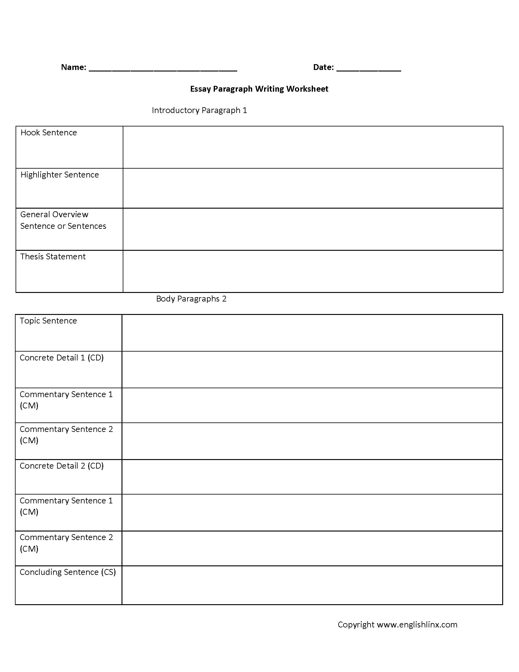 5 Paragraph Essay Worksheets Grade 6