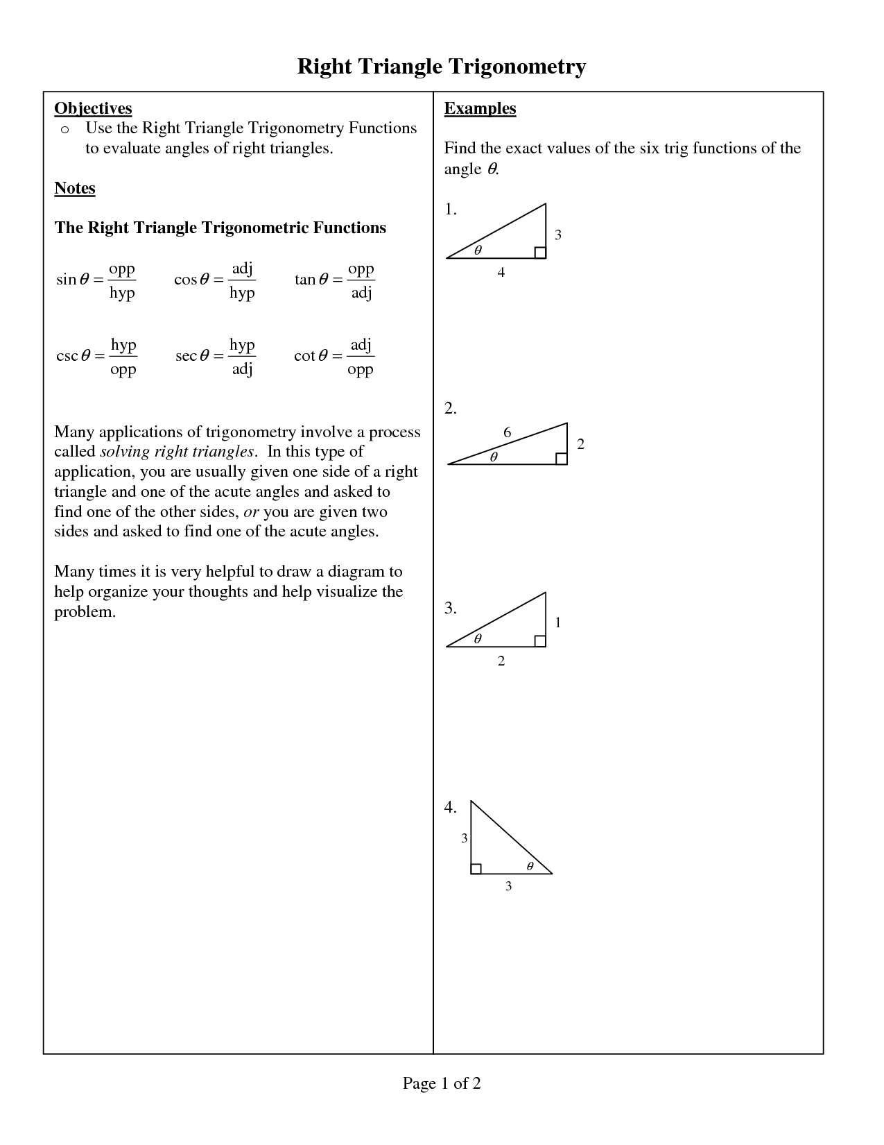 11 Best Images Of Right Triangle Trigonometry Worksheet