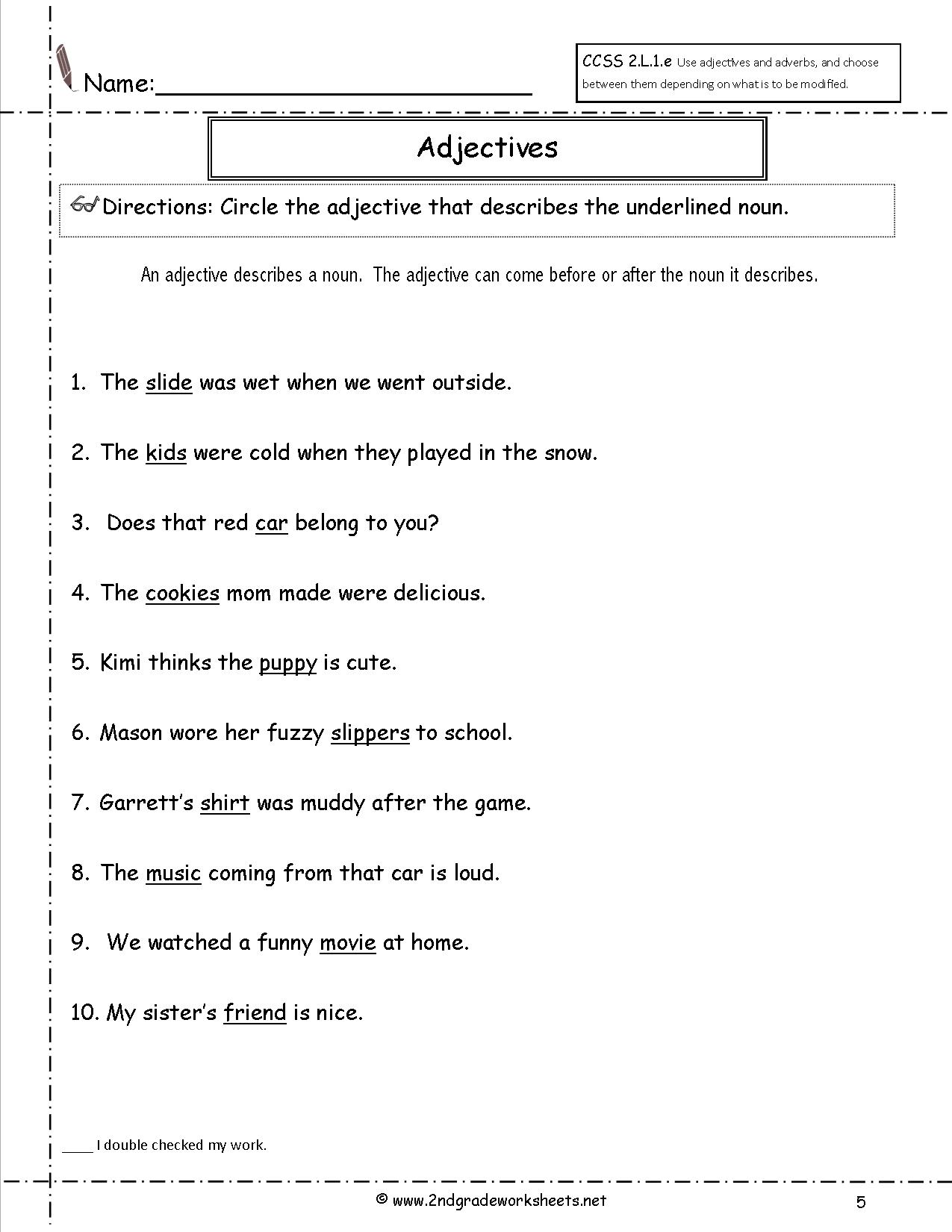15 Best Images Of Nouns And Adjectives Worksheets